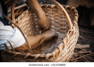 Making wicker baskets, detail of traditional craft