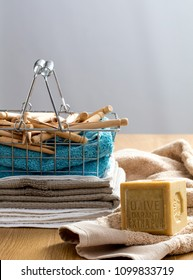 making your home-made washing detergent with natural, traditional olive oil soap for economical clean clothing and healthy towels
