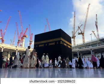 Makkah (Mecca), Saudi Arabia - Circa May 2015: A close up view of the Kaaba at Masjidil Haram in Makkah. Muslims all around the world face the Kaaba during prayer time and circumbulate during tawaf.