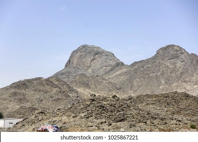 Makkah (Mecca), Saudi Arabia - circa March 2017: Mountain of Light (Jabal Nur) where Prophet Muhammad spent time in the Hira cave. Pilgrims still climb up the mountain these days to view the cave.