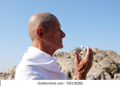 Makkah, Saudi Arabia - 2 December 2017 : Muslim man praying or made a doa upon arriving at Jabal Rahmah.