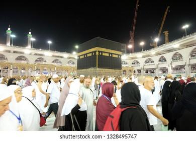 Makkah, Saudi Arabia - 29 August 2018 : Muslim Pilgrims at The Kaaba in The Haram Mosque of Mecca , Saudi Arabia, In the night during Hajj.