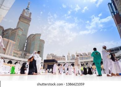 Makkah, Saudi Arabia - 29 July 2018 : Muslim Pilgrims at The Kaaba in The Haram Mosque of Mecca , Saudi Arabia, In the morning during Hajj.