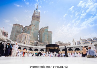 Makkah, Saudi Arabia - 29 July 2018: Muslim Pilgrims at The Kaaba in The Haram Mosque of Mecca , Saudi Arabia, In the morning during Hajj.