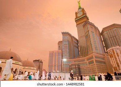 Makkah, Saudi Arabia -30 July 2018 : Big clock tower building (Hilton Makkah Convention Hotel ), view from the sky side of the Haram mosque.
