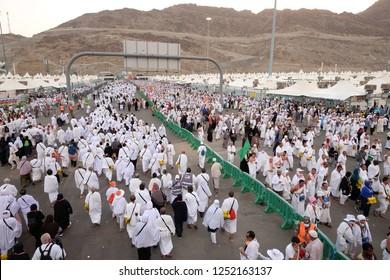 Makkah, Saudi Arabia -August 19, 2018:Hundreds Of Tents in Mina where pilgrims camp during hajj