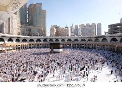 Makkah, Saudi Arabia -August 3, 2018:Muslim Pilgrims at The Kaaba in The Haram Mosque of Mecca, Saudi Arabia, during Hajj.