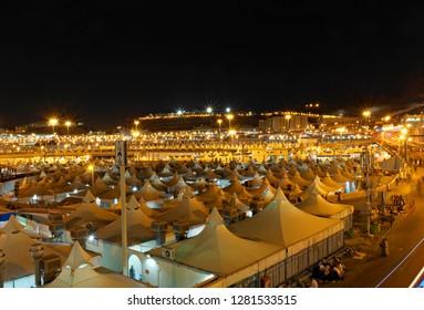 Makkah, Saudi Arabia : Landscape of Mina, City of Tents, the area for hajj pilgrims to camp during jamrah 'stoning of the devil' ritual  (08/2018).