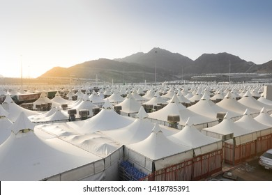 Makkah, Saudi Arabia : Landscape of Mina, City of Tents, the area for hajj pilgrims to camp during jamrah 'stoning of the devil' ritual - August 1, 2018