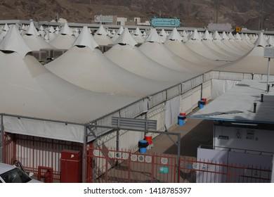 Makkah, Saudi Arabia : Landscape of Mina, City of Tents, the area for hajj pilgrims to camp during jamrah 'stoning of the devil' ritual - August 1, 2018