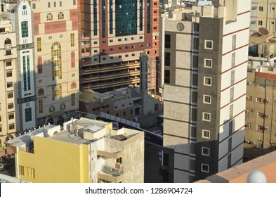 Makkah, Saudi Arabia - Nov 5th 2012: Al-Jin Mosque ( Masjid Al-Jin) is surrounded with the highrise building near to Mualla Cemetary, Makkah. View from the top of the hotel nearby.