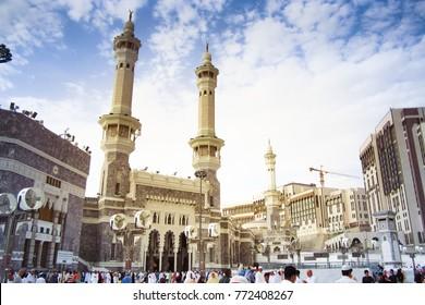 Makkah, Saudi Arabia - November 10, 2017 : View of 'Masjidil Haram' Mosque in Makkah city during hajj season.