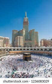 Makkah, Saudi ARABIA-April 2018: muslim prayer and tawaf for Abraj AL Bait  prophet Muhammad, kaabah, Saufi ARABIA.