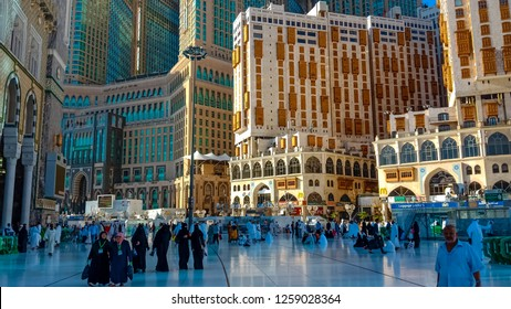 MAKKAH,SAUDI ARABIA-April 2018: Daily life in street of holy city makkah,mecca street,