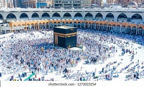 MAKKAH,SAUDI ARABIA;April 2018,View of pilgrims in front of the Masjidil Haram  in makkah during haji and Umra.