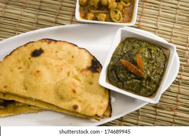 Makki Ki Roti with Channa and Saag, Indian Food
