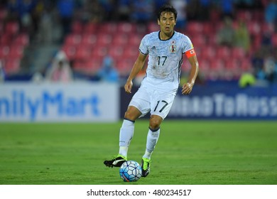 Makoto Hasebe of japan in action during the 2018 World Cup Qualifiers match between Thailand and Japan at Rajamangala Stadium on September 6, 2016 in Bangkok, Thailand