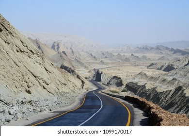 The Makran Coastal Highway along Pakistan's Arabian Sea coast from Karachi in Sindh province to Gwadar in Balochistan province.