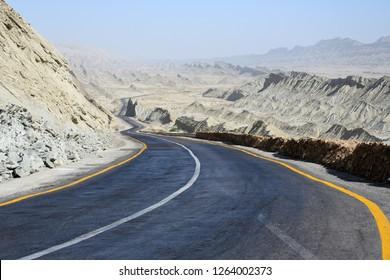 The Makran Coastal Highway along Pakistan's Arabian Sea coast , from Karachi in Sindh province to Gwadar in  Balochistan province