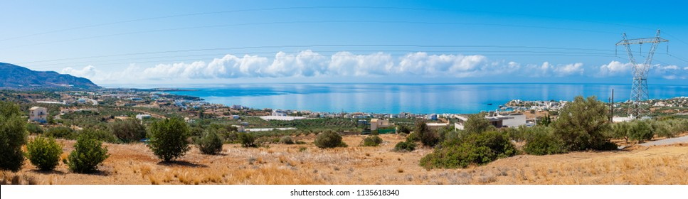 Makrigialos unique panoramic skyline view south east Crete Greece. Popular Mediterranean travel destination vacation resort, unspoiled beaches, clear turquoise ocean waters. Travel destination concept