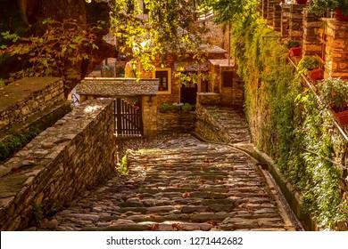 Makrinitsa village, Greece street view, Pelion mountains