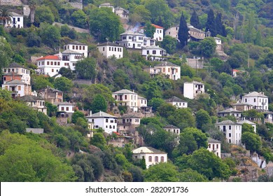 Makrinitsa village with traditional stone houses scattered n the mountain side, Pelion peninsula, Greece