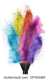 makup brush with color powder isolated on white
