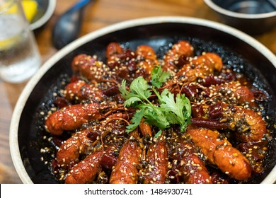 Mala crwfich is a traditional food spicy lobster dish in Szechuan, China.  In Chinese say xiǎo lónɡ xiā