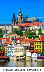 Mala Strana (Lesser Town of Prague) and Prague Castle. Prague, Czech Republic. Architecture and landmark of Prague