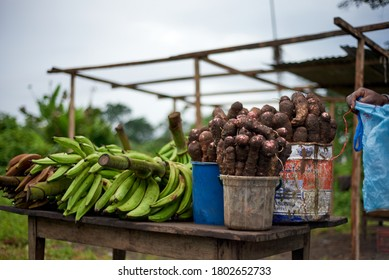 Malabo, Equatorial Guinea - October 10, 2016: Beets and green bananas on a table in the street
