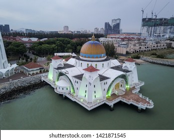 Malacca - Circa 2019: Aerial View of The Malacca Straits Mosque. This mosque is situated in the city of Malacca, some 1.5 hours away from Kuala Lumpur
