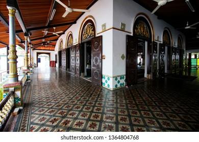 Malacca City, Malacca, Malaysia - April 10, 2019 : Masjid Tranquerah or Tengkera interior design at Malacca, Malaysia. The mosque was built in 1728.