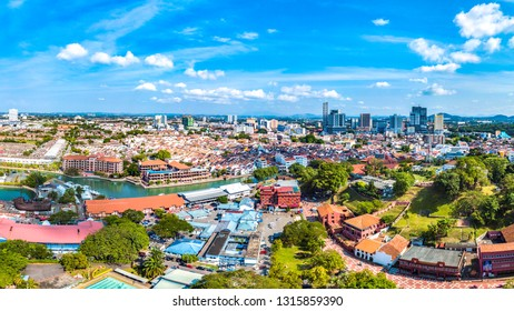 Malacca City, Melaka, Malaysia - February 5, 2019: Aerial View of Malacca City, a UNESCO World Heritage Site that Demonstrates the Cultural and Trade Exchange Between East and West Over 500 Years