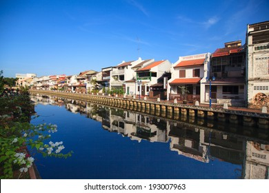 Malacca city night with house near river under blue sky in Malaysia, Asia.