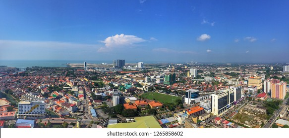 MALACCA CITY,MALAYSIA-DECEMBER 24 2018: a panoramic view of Bandar Hilir if Malacca with blue sky views from The Shore Sky Bridge