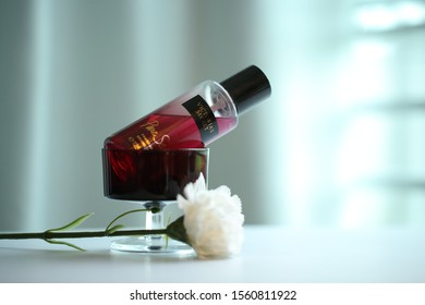 Malacca, Malaysia- 15 November 2019. Victoria Secret Body Mist Pure Seduction Product photography with isolated ambience background.