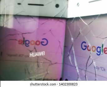 MALACCA, MALAYSIA - 20 MAY 2019 - Backside of a Huawei phone, reflection of a Google apps with the word HUAWEI is in focus. Huawei is facing a big conflict today as the banned from U.S government.
