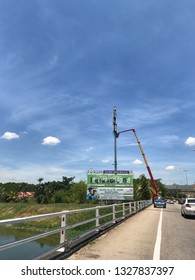 Malacca, Malaysia- 23 February 2019. Technician fixing the telco signal tower.