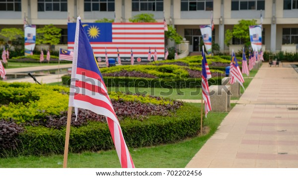 Malacca, Malaysia: 24/08/2017: Malaysian flags fluttering all over the place as the Independence Day  Celebration  is just around the corner..