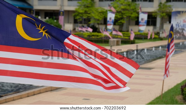 Malacca, Malaysia: 24/08/2017: Malaysian flags fluttering all over the place as the Independence Day  Celebration  is just around the corner. Malaysian Independence Day fall on 31st August every year.