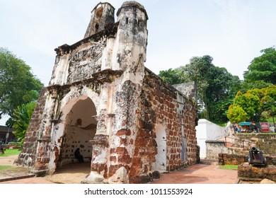 Malacca, Malaysia - 28 January 2018 - A Famosa, a Portuguese fortress that is among the oldest surviving European architectural remains in Southeast Asia and the Far East.