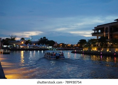 Malacca, Malaysia - 30 September 2017 : A group of tourist on the Malacca River Cruise boat in Malacca, Malaysia. Malacca was listed as a UNESCO World Heritage Site.