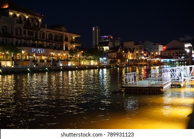 Malacca, Malaysia , 30 September 2017 : Usually people will enjoy their Saturday night at old Malacca waterfront town because the scene at night is very illuminated in Malacca, Malaysia.