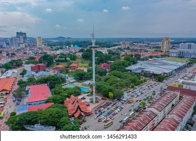 Malacca, Malaysia - 7July 2019: Aerial View Of Taming Sari Tower With Greenery Malacca City View
