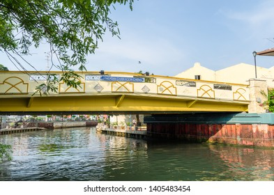 Malacca, Malaysia - April 21, 2019:  Riverside scenery of Chan Koon Cheng's bridge at the Malacca River. It has been listed as UNESCO World Heritage Site since 7/7/2008.
