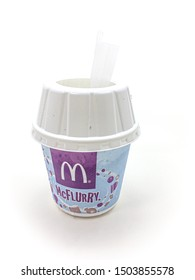 Malacca / Malaysia - April 29 2019 : Mc Flurry is a soft-serve ice cream dessert produced by McDonalds.