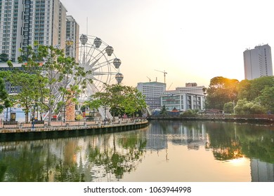 Malacca, Malaysia, April 8, 2018: Malacca city is awarded the UNESCO World Heritage City status.Featured here is Melaka River next to Eye of Malacca, popular tourism destination with scenic landscape.