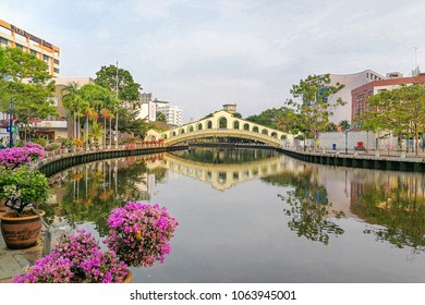 Malacca, Malaysia, April 8, 2018: Malacca city is awarded the UNESCO World Heritage City status with rich history. Featured here is Melaka River, popular tourism destination with scenic landscape.
