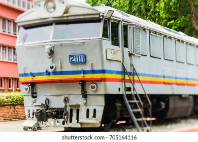 MALACCA, MALAYSIA - AUG 28, 2017: Old train exhibit in Malacca. Malacca City is the capital city of the Malaysian state of Malacca. It was listed as a UNESCO World Heritage Site on 7 July 2008