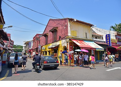 MALACCA, MALAYSIA - AUGUST 01, 2015: Jonker Street is the centre street of Chinatown in Malacca. It was listed as a UNESCO World Heritage Site on 7 July 2008.